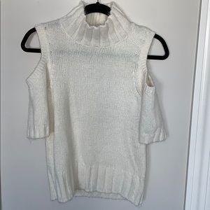 Cozy cold shoulder mock neck sweater